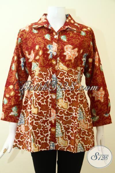 Batik Keren Motif Klasik Untuk Wanita Dewasa, Pakaian Batik Kwalitas Halus Warna Merah Cewek Tampil Modis [BLS2604CT-M]