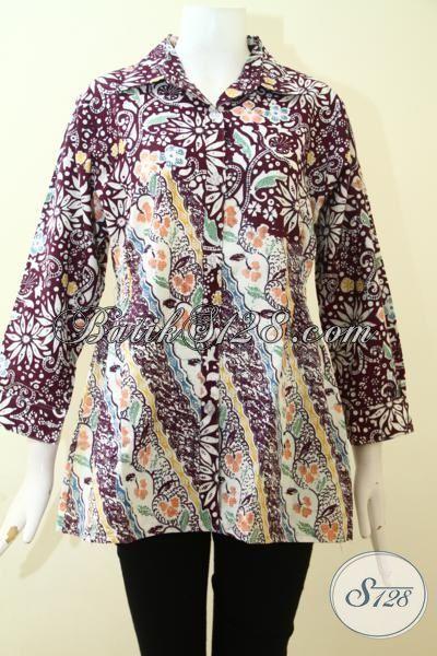 Blus Batik Cap Dua Motif, Pakaian Batik Wanita Untuk Lebih Cantik Dan Keren, Batik Modern Khas Jawa Tengah Harga Terjangkau, Size M