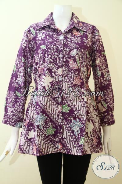 Jual Baju Batik Untuk Bergaya, Blus Batik Fashion Model 2017 Untuk Wanita Muda Dan Dewasa Produk Asli Solo Proses Cap, Size M