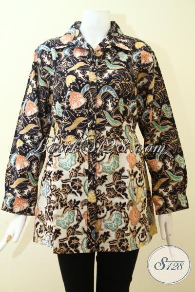 Blus Batik Berkelas Desain Mewah Dan Istimewa, Baju Batik Kwalitas Premium Proses Cap Tulis, Batik Modern Untuk Kerja, Size L