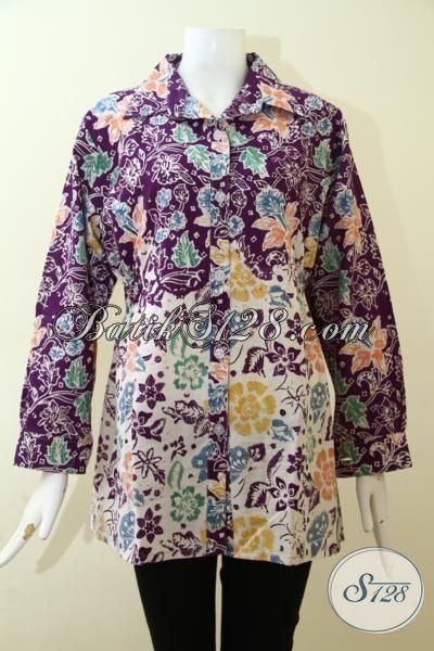 Jual Online Busana Batik Fashion Untuk Perempuan, Blus Batik Cap Berkelas Motif Klasik Bunga-Bunga, Batik Dua Motif Trend Desain 2016, Size L
