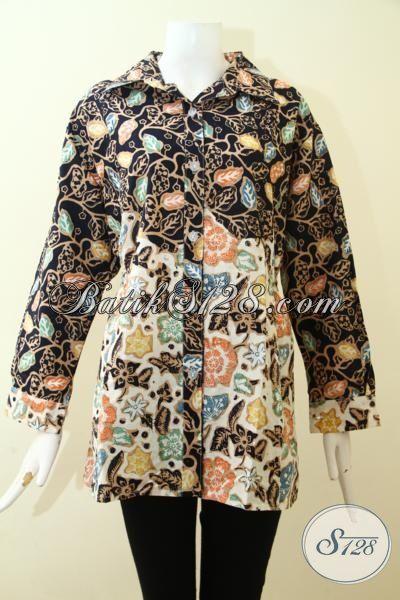 Baju Batik Kerja Ukuran XL, Blus Batik Berkelas, Pakaian Batik Cap Tulis Kombinasi Dua Motif, Batik Trendy Masa Kini