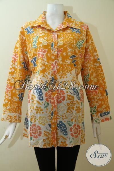 Batik Blus Modern Membuat Wanita Lebih Bergengsi, Jual Online Batik Cap Tulis Motif Modern Warna Kuning, Size XL