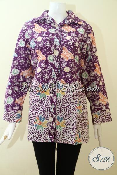 Tampil Trendy Dan Elegan Dengan Batik Cap Solo, Blus Batik Modern Desain Terbaru Motif Bunga Warna Ungu, Size XL