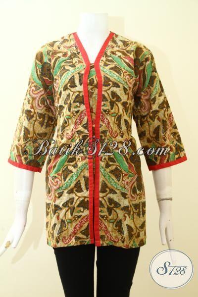 Blus Batik Keren Proses Printing, Jual Online Baju Batik Santai Motif Unik Dengan Aksen Merah Nan Elegan, Size S