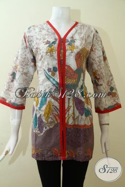 Baju Batik Desain Mewah, Pakaian Batik Blus Berkelas Dengan Aksen Merah Yang Trendy, Baju Batik Kombinasi Tulis Wanita Tampil Lebih Modis, Size L