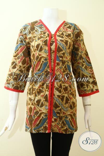 Trend Busana Batik Wanita 2015, Blus Batik Seragam Kerja Dengan Desain Menarik Proses Printing Motif Klasik Modern Wanita Bisa Tampil Anggun Dan Feminim [BLS2626P-L]