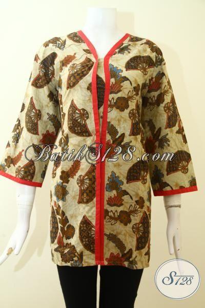 Blus Batik Tiga Perempat Proses Printing, Baju Batik Solo Desain Modern Dengan Aksen Merah  Menambah Kesan Mewah, Cocok Untuk Pesta Dan Acara Santai, Size XL