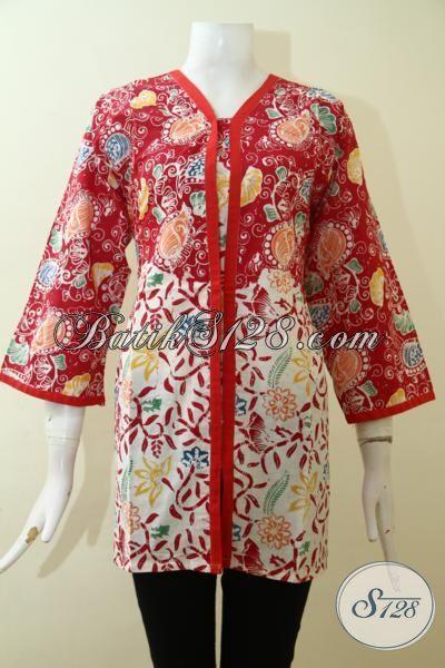 Baju Batik Jumbo Wanita Gemuk, Blus Batik Keren Motif Modern Warna Merah Tampil Modis Dan Anggun [BLS2631C-XXL]
