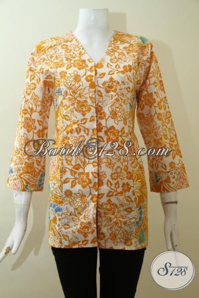 Online Shop Batik Jawa Terlengkap, Baju Blus Batik Modern Trend 2015, Baju Batik Formal Langganan Pegawai Kantoran, Size S