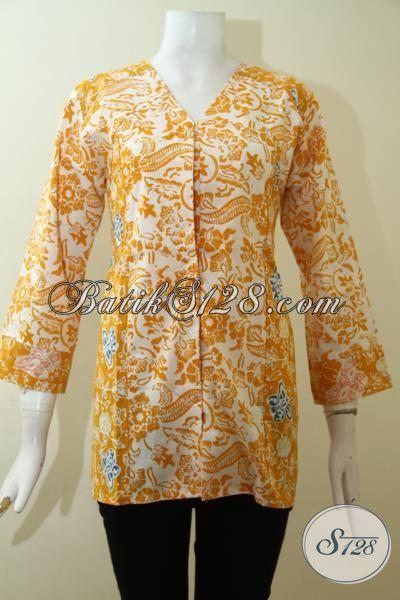 Blus Batik Jawa Warna Kuning Motif Trendy, Baju Batik Desain Terkini Perempuan Tampil Keren [BLS2638C-M]