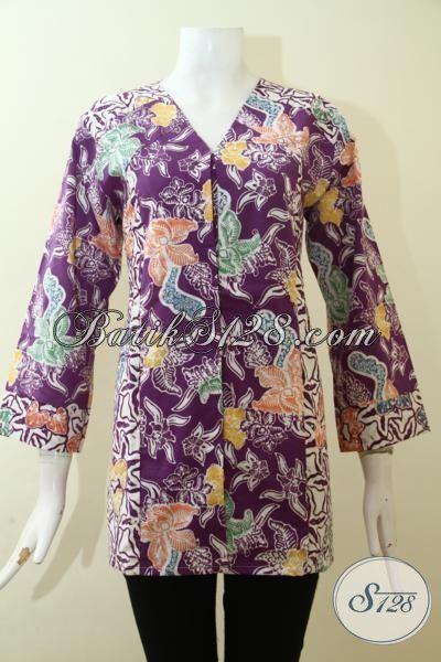 Baju Blus Batik Ungu Proses Cap Desain Paling Hits, Pakaian Batik Untuk Pesta Dan Kondangan [BLS2641C-L]