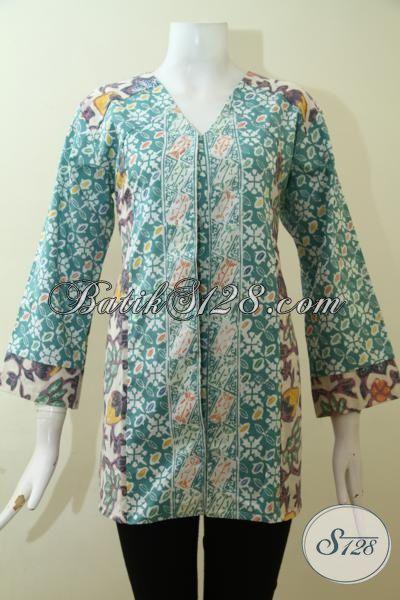 Blus Batik Cap Asli Solo, Busana Kerja Batik Model Terkini Yang Lebih Fashionable, Batik Jawa Motif Klasik Tampil Elegan Dan Berwibawa, Size XL