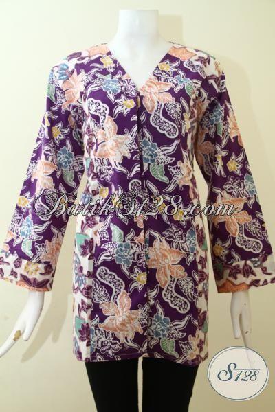 Blus Batik Ukuran XL, Baju Batik Elegan Desain Berkelas, Pakaian Batik Kerja Membuat Wanita Semakin Mempesona, Size XL