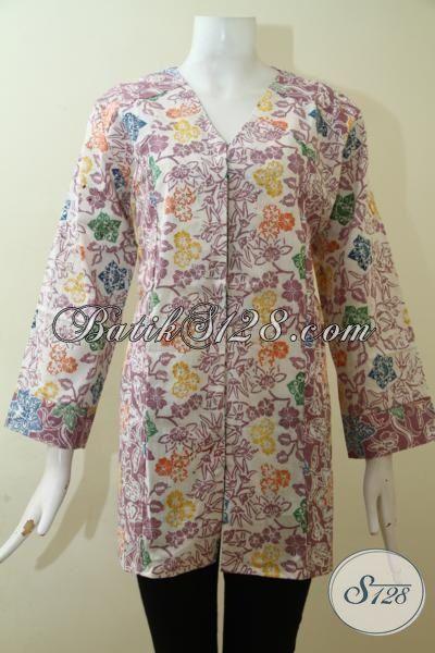 Juragan Baju Batik Terlengkap, Blus Batik Berkelas Motif Bunga-Bunga, Pakaian Batik Cap Tampil Lebih Feminim, Size XL