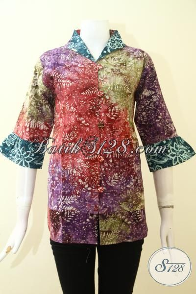Batik Blus Feminim Desain Keren Banget, Baju Batik Santai Cap Smoke Warna Gradasi Buatan Solo, Size M