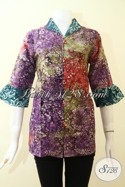 Busana Batik Modern Warna Gradasi Motif Keren Berkelas, Baju Batik Cap Smoke Produk Solo Harga Murah Kwalitas Bagus [BLS2650CS-M]