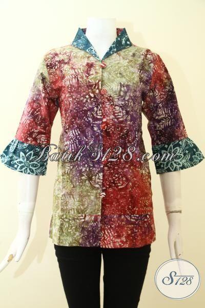 Jual Aneka Baju Batik Perempuan Model Terbaru, Batik Baju Kerja Istimewa Harga Terjangkau, Batik Gradasi Cap Smoke Cuma 100 Ribuan, Size M