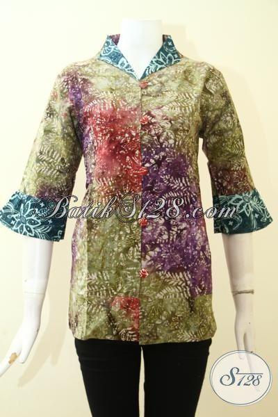 Toko Online Batik Jawa Paling Lengkap, Busana Batik Keren Dan Elegan Bahan Katun Halus Proses Cap smoke Perempuan Cantik Maksimal, Size M
