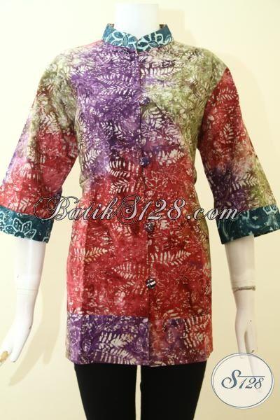 Busana Batik Blus Gradasi Motif Terkini Model Mewah Berkelas, Baju Batik Produk Solo Kwalitas Terbaik Harga Lebih Murah [BLS2657CS-XL]
