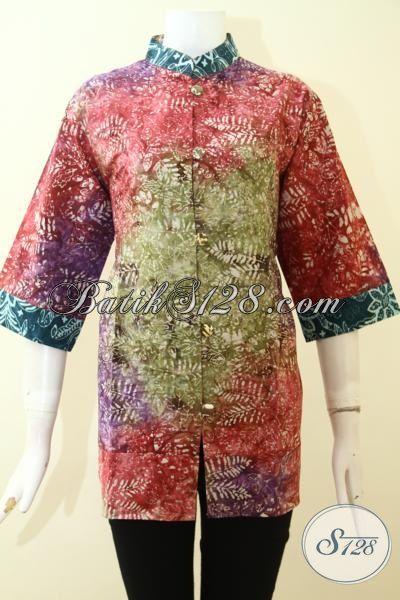 Batik Kwalitas Istimewa Dengan Harga Murah, Baju Batik Blus Cap Smoke Warna Gradasi Bahan Halus Nyaman Di Pakai [BLS2659CS-XL]