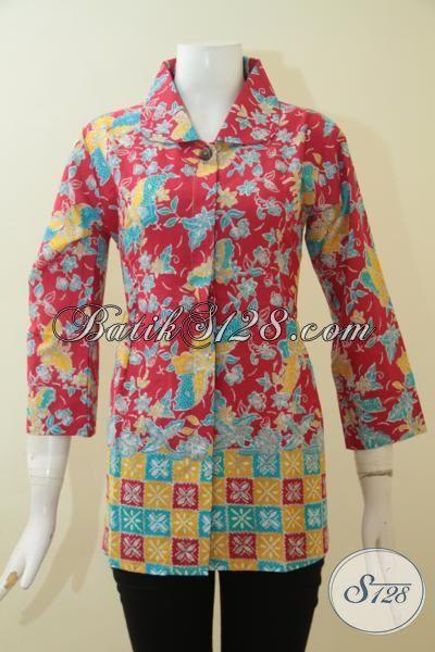 Batik Kerja Kerah Lebar Warna Pink model Paling Keren, Busana Blus Batik Printing Desain Mewah Harga Murah [BLS2705P-M]
