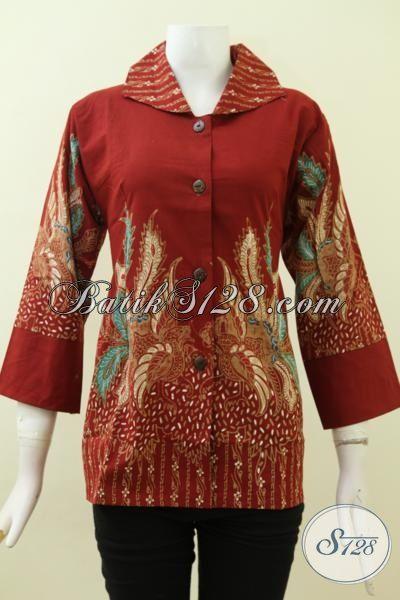 Baju Batik Tulis Cewek Paling Murah, Batik Blus Istimewa Warna Merah Motif Bagus Desain Berkelas, Size M