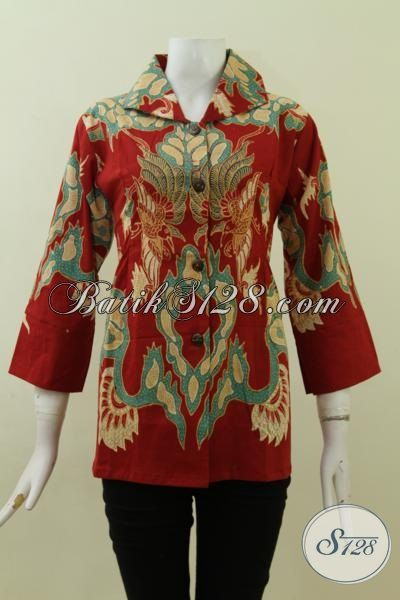Pusat Belanja Pakaian Batik Wanita Online, Sedia Baju Blus Batik Solo Trend 2015 Proses Tulis Warna Merah Tampil Lebih Bersemangat [BLS2718T-M]