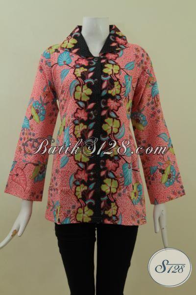 Busana Batik Wanita Kerja Masa Kini, Baju Blus Batik Kwalitas Halus Proses Printing Hanya 100 Ribu [BLS2720P-L]