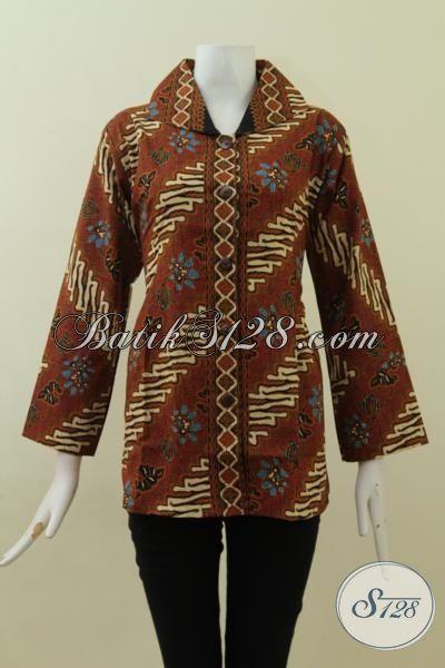Baju Batik Parang Blus, Busana Kerja Desain Formal, Cocok Untuk Rapat , Baju Batik Cap Tulis Klasik  Size L