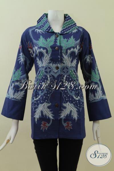 Busana Batik Pakaian Kerja Cewek Kantoran Warna Biru Motif Modern, Blus Batik Bagus Dan Halus Asli Buatan Solo [BLS2726CT-XL]
