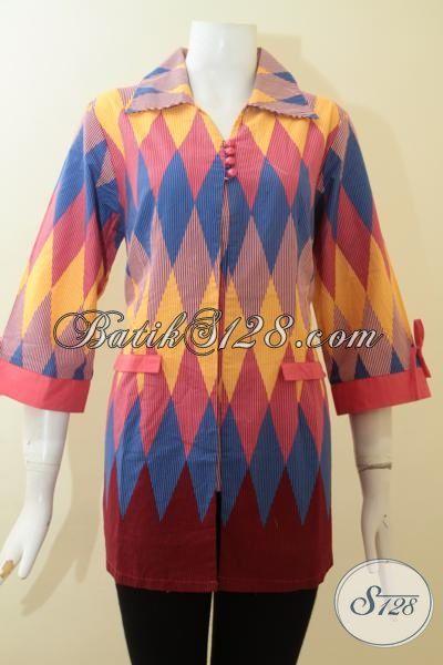 Baju Batik Wanita Kombinasi Kain Polos Motif Rangrang Bahan Halus Bagus bb5b01f021