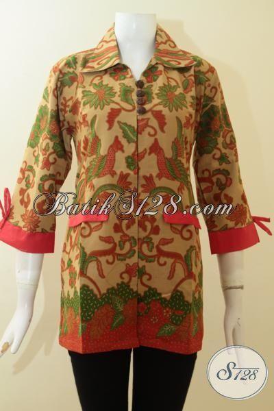 Jual Pakaian Batik Online Model Blus, Baju Batik Elegan Desain Formal Pas Buat Kerja, Busana Batik Printing Solo Lebih Berkwalitas, Size L