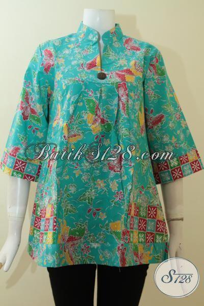 Batik Cantik Warna Tosca, Model Bagus, Lengan 3/4, Untuk Wanita Modern [BLS2754P-M]