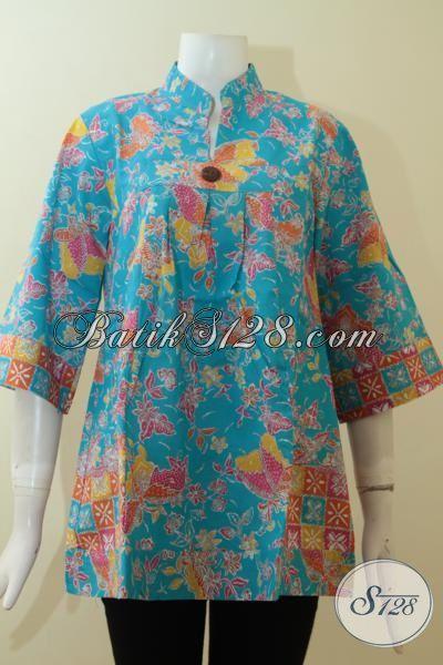 Trend Blus Batik Masa Kini Tampil Trendy Dan Modis, Pakaian Batik Solo  Model Kerah Shanghai Wanita Cantik Dan Feminim, Size M