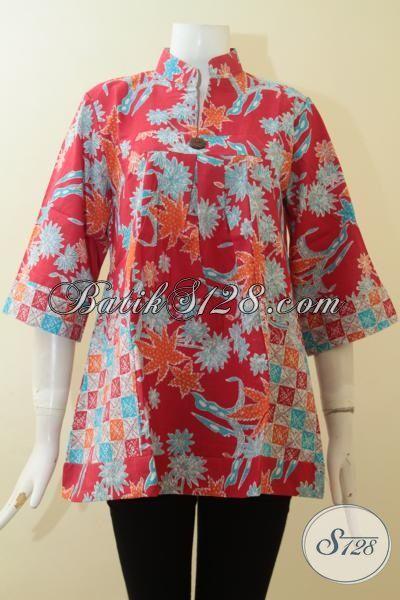 Batik Blus Merah Motif Unik, Busana Batik Bagus Dan Halus Proses Print, Trendy Untuk Jalan-Jalan Dan Berkelas Untuk Kerja, Size M – XL