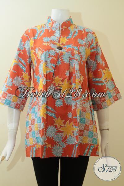 Batik Trendy Desain Blus Berkelas, Baju Batik Cewek Masa Kini Warna Cerah Tampil Mewah Dan Segar, Size L