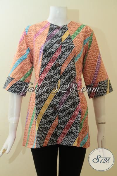 Baju Batik Parang Model Blus, Pakaian Batik Warna Modern Proses Print, Bisa Untuk Pesta Dan Hangouts, Size M