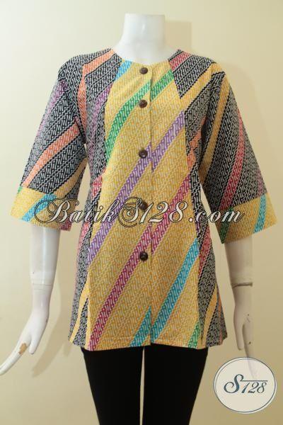 Blus Batik 2015, Baju Batik Cewek Kantoran, Pakaian Batik Parang Warna Mewah Tampil Meriah, Size L