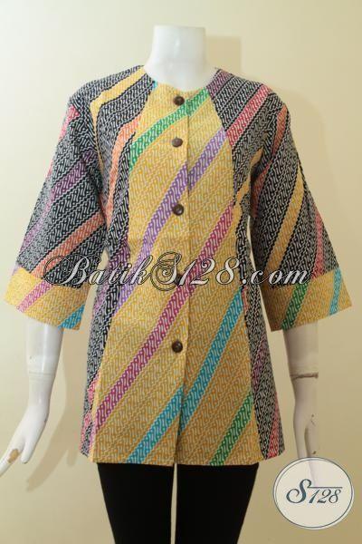 Baju Batik Wanita Kombinasi Warna Kuning Dan Hitam Trend Batik