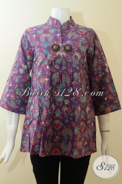 Blus Batik Wanita Warna Ungu Elegan,Batik Wanita Trendy Dan Kontemporer [BLS2780P-S]