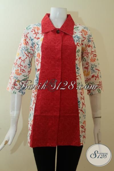 Busana Batik Wanita Paduan Bahan Katun Dan Emboss Bls2787c M