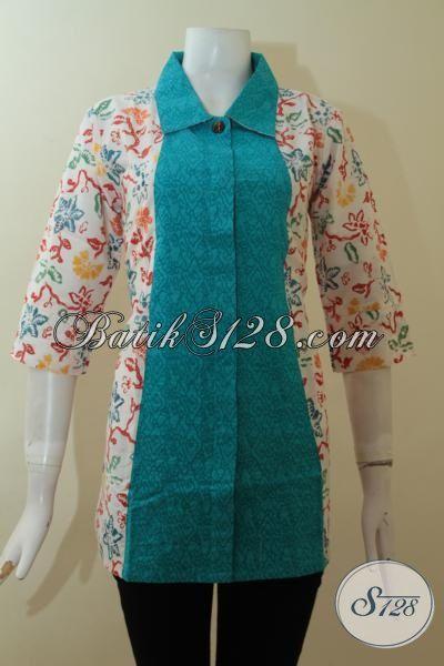 Jual Koleksi Blus Batik Terbaru 2015, Baju Batik Seragam Kerja Bahan Katun Kombinasi Kain Emboss Warna Biru Lebih Keren Dan Mewah, Size M
