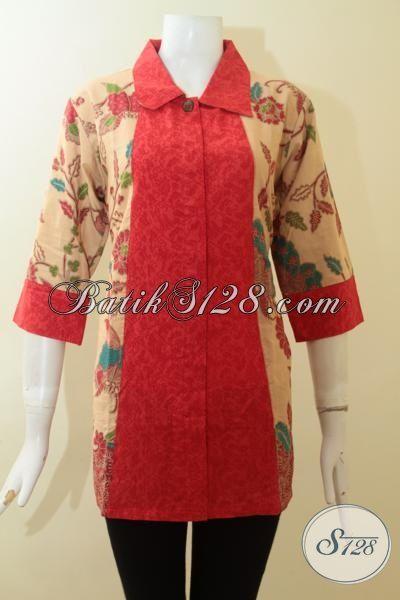 Jual Pakaian Santai Untuk Cewek, Baju Batik Blus Proses Printing Lasem Kombinasi Kain Katun Dan Embos Yang Lebih Berkelas, Size L