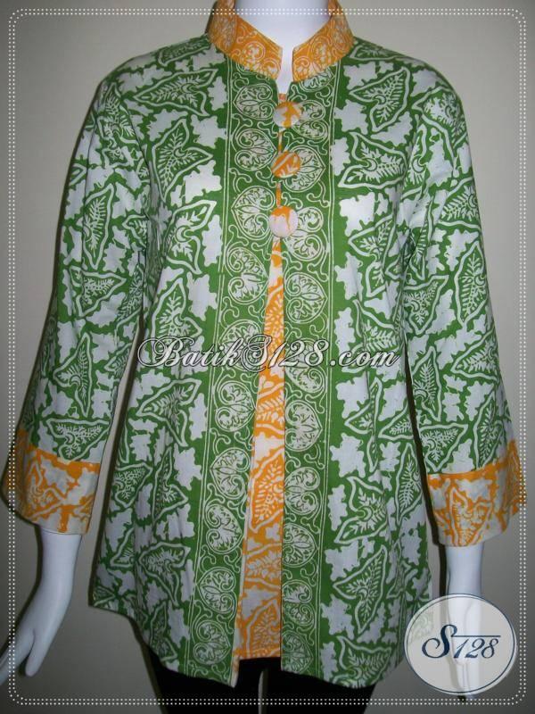 Blus Batik Cap Motif Batik Solo,Trendy Dan Modern [BLS278C-M]