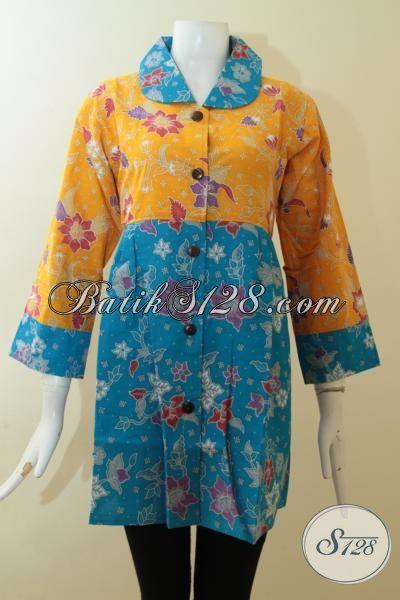 Atasan Baju BAtik Wanita Model Kancing Depan,Blus Batik Wanita Krah Bulat [BLS2803P-L]