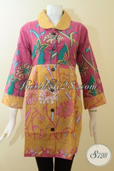 Blus Batik Ukuran XL Kombinasi Warna Merah Muda Dan Kuning [BLS2811P-XL]