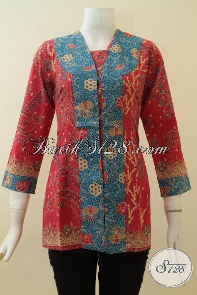 Blus Batik Model Terbaru 2 Warna Motif Ukuran S Bagus [BLS2813P-S]