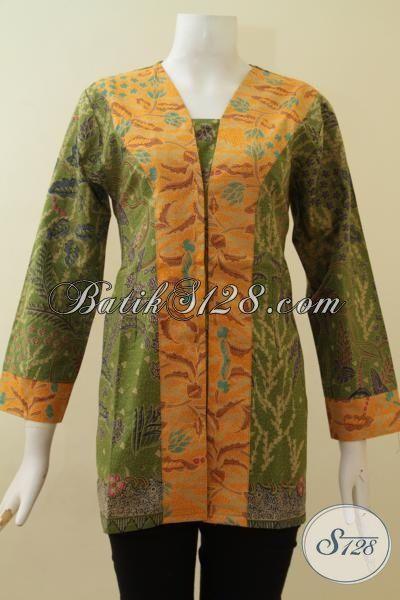 Baju Blus Batik Print Desain Formal Cocok Untuk Pakaian Kerja Wanita Karir, Pakaian Batik Masa Kini Kombinasi Warna Hijau Dan Kuning, Size M