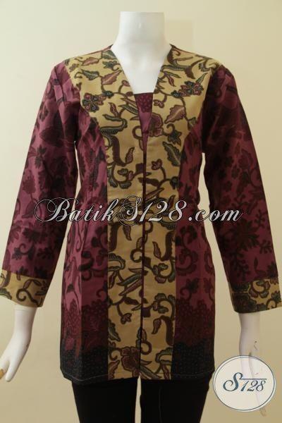 Baju Atasan Batik Wanita, Pakaian Kerja Formal Untuk Rapat Dan Acara Resmi, Baju Batik Printing Motif  Mewah Cewek Lebih Mempesona, Size M